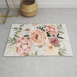 Muted Peonies and Poppies Rug