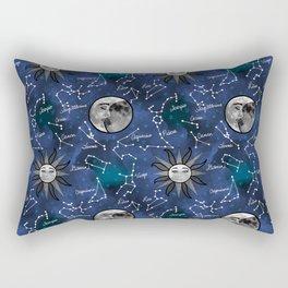 Celestial Star Signs in Blue Rectangular Pillow