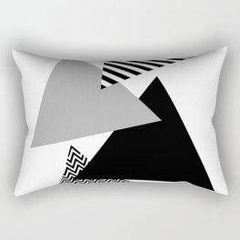 Geometric - Triangles, Black & White Rectangular Pillow
