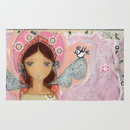 Angel with Little Bird by Flor Larios Rug