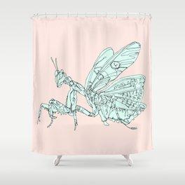 Asian Flower Mantis Shower Curtain