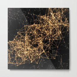 Shiny golden dots connected lines on black Metal Print