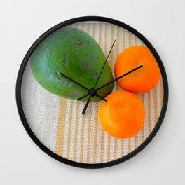 Fruit avocado and oranges. Wall Clock