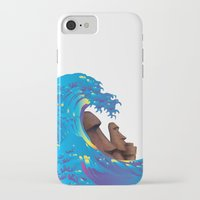 hokusai iPhone & iPod Cases featuring Hokusai Rainbow & Moai by FACTORIE
