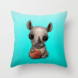 Cute Baby Rhino Playing With Basketball Throw Pillow
