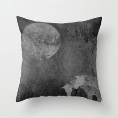 Moon with Horses in Grays Throw Pillow