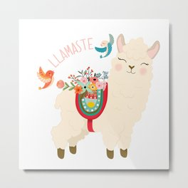 Llamaste - When A Llama Offers You A Respectful Greeting Metal Print