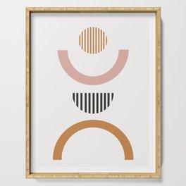 Chrysanthe - minimal earthones abstract geometric art print Serving Tray