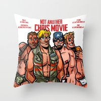 chris evans Throw Pillows featuring Not Another Chris Movie by Randy Meeks