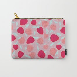 Strawberry pattern on pink background, tutti fruti trend Carry-All Pouch