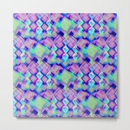 Square Pastel Pink Pattern Metal Print
