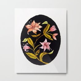 Lily Bouquet Watercolor — Lillies Watercolor Painting — Lily Flower Design Metal Print