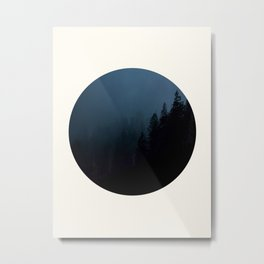 Mid Century Modern Round Circle Photo Graphic Design Navy Blue Pine Forest Trees Silhouette Metal Print