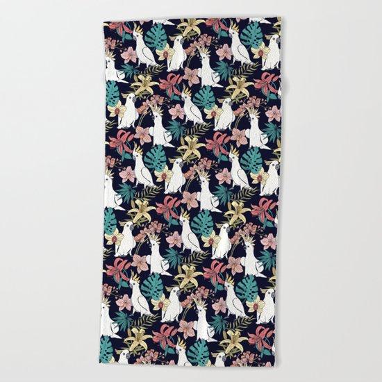 Cockatoo & Tropical Flora Beach Towel