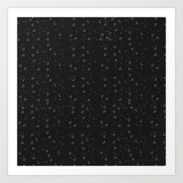 Minimal Pattern :: Black Triangle Moon Art Print