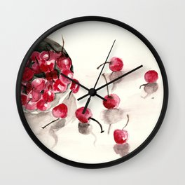 Cherries in a Bowl Wall Clock