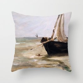 Black boat near Berck by Eduard Manet Throw Pillow