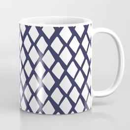 Rhombus White And Blue Coffee Mug
