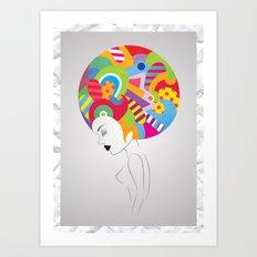Colored Head Art Print
