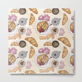 Good Morning Strawberries, Croissants And Coffee Pattern Metal Print