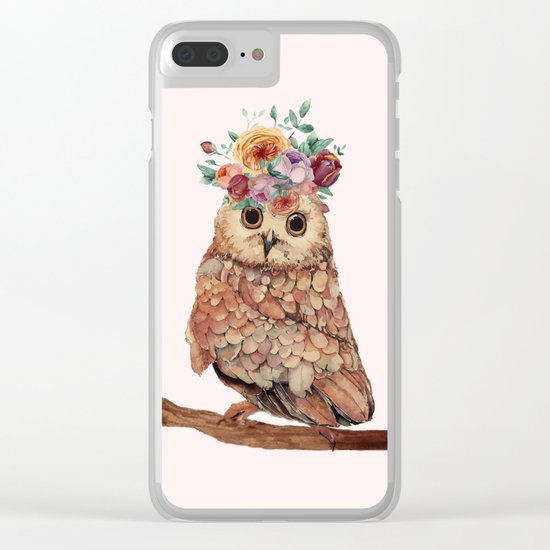 Owl with Flowers Clear iPhone Case