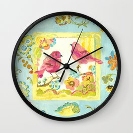 Lovebirds by Kimberly Hodges Wall Clock