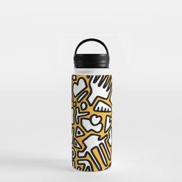 black doodle on orange Water Bottle