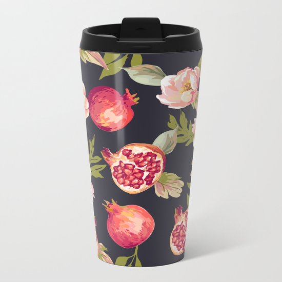 Pomegranate patterns - floral roses fruit nature elegant pattern Metal Travel Mug