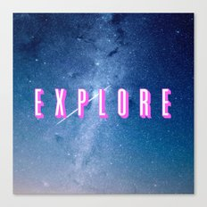 Explore - Space Typography Canvas Print