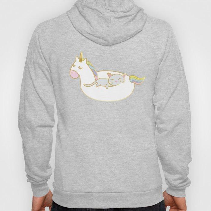 Sleepy lazy cats in unicorn floaties Hoody