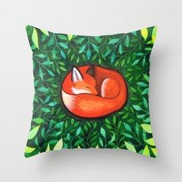 Sleeping fox nest Throw Pillow