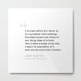 Jane Austen Quote on Reading Metal Print