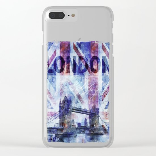 London Tower Bridge mixed media Art and Typography Clear iPhone Case