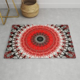 Bright Red White Mandala Design Rug
