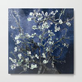 Vincent Van Gogh Almond Blossoms Dark Blue Metal Print