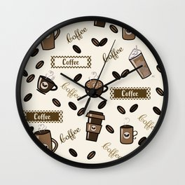 Coffee cups pattern on cream background Wall Clock