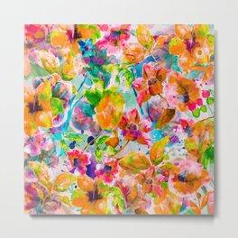 Watercolor exotic flowers Metal Print