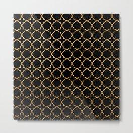 Elegant black faux gold glitter chic quatrefoil vector illustration Metal Print