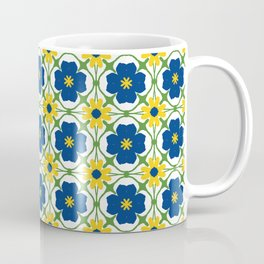 Blue and yellow vine flowers on white Coffee Mug
