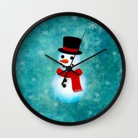 snowman Wall Clocks featuring snowman by vitamin
