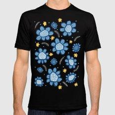 Pop Flowers blue MEDIUM Black Mens Fitted Tee