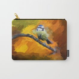 Tit Bird Abstract Painting Carry-All Pouch