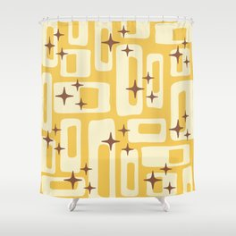 Retro Mid Century Modern Abstract Pattern 576 Yellow Brown Shower Curtain