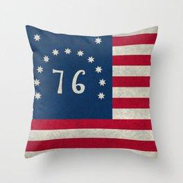 1776 Bennington flag - Vintage Stone Textured Throw Pillow