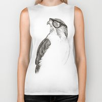 animals Biker Tanks featuring Hawk with Poor Eyesight by Phil Jones
