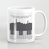 casablanca Mugs featuring No192 My Casablanca minimal movie poster by Chungkong