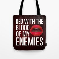 lipstick Tote Bags featuring Lipstick by Kris Hawkins