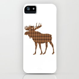 Plaid Moose: Brown iPhone Case