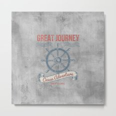 Maritime Design- Great Journey Ocean Adventure on grey abstract background #Society6 Metal Print