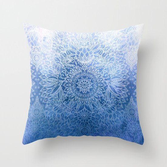 Throw Pillow Doodle : Enchanted Indigo - watercolor + doodle Throw Pillow by Micklyn Society6